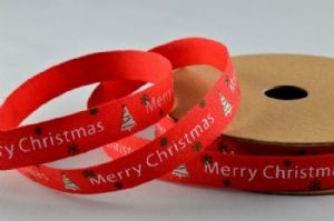 CR Ribbon: Red Cotton Ribbon with Merry Christmas & Trees 10mm